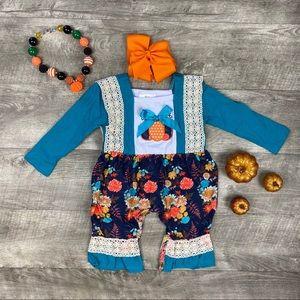Baby girls pumpkin appliqué floral romper